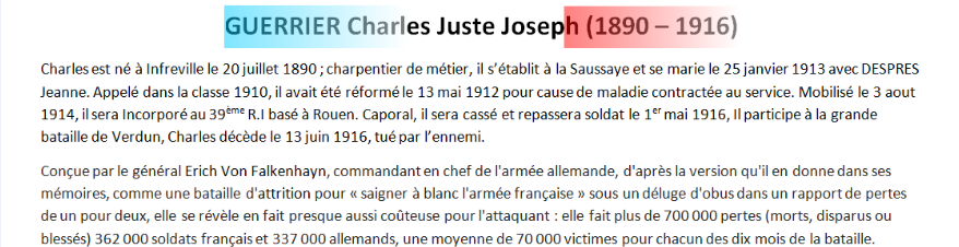 Mort GUERRIER Charles Juste texte
